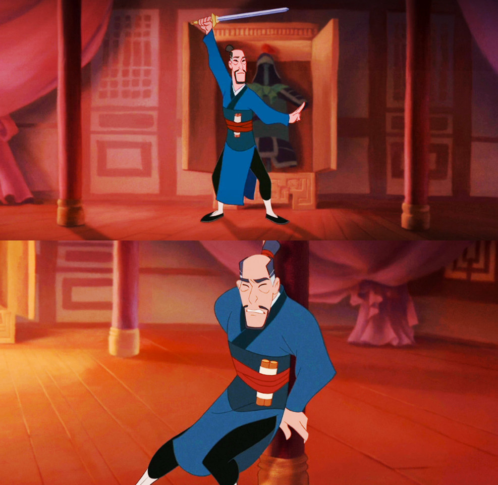 Mulan father's in the animated film Mulan attempts to practice tai chi moves in the top image, and the collapses against a pillar in pain in the second image