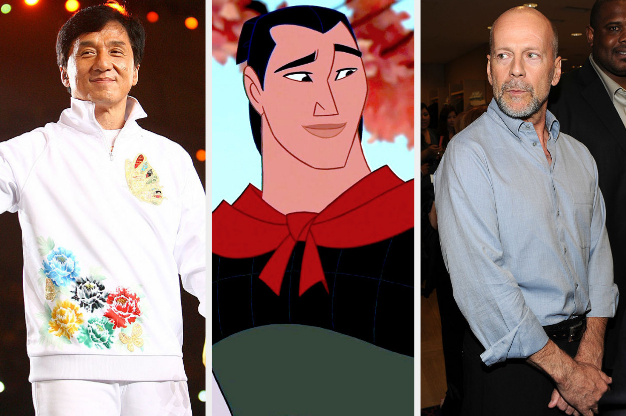 A split image showing Jackie Chan smiling in white clothes, Li Shang from the move Mulan looking off screen in his army uniform, and Bruce Willis at an event wearing a pale blue shirt and sitting down