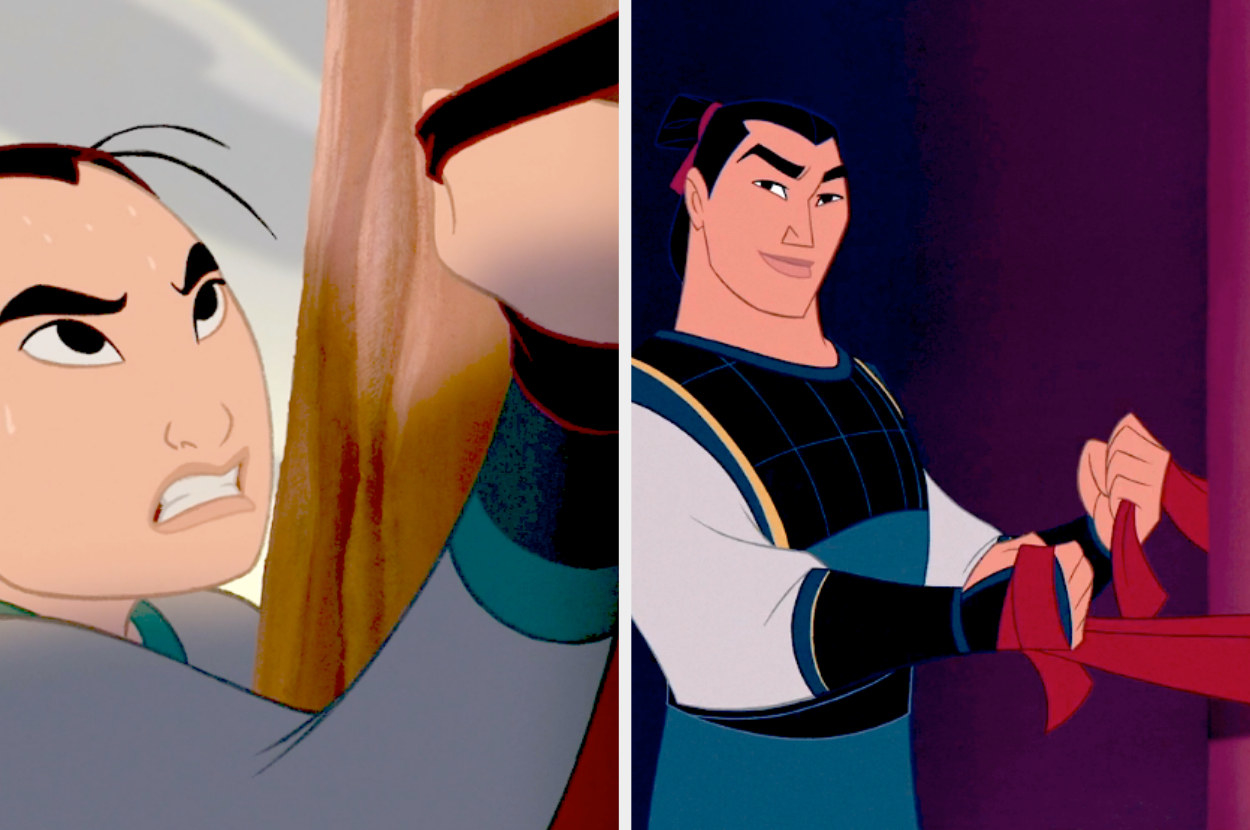 A split image shows Mulan endeavouring to a climb up a poll with two leather straps wrapped around her hands. In the second image, Li Shang wraps his cape around a pillar as if reading to climb it