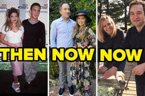 Danielle Fishel and Ben Savage then/Danielle Fishel and her husband now/Ben Savage and his wife now