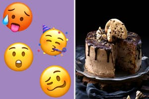On the left, the overheated emoji, party face emoji, astonished emoji, and woozy emoji, and on the right, a chocolate cake with a a fudge drizzle and chocolate chip cookies on top with a slice taken out of it
