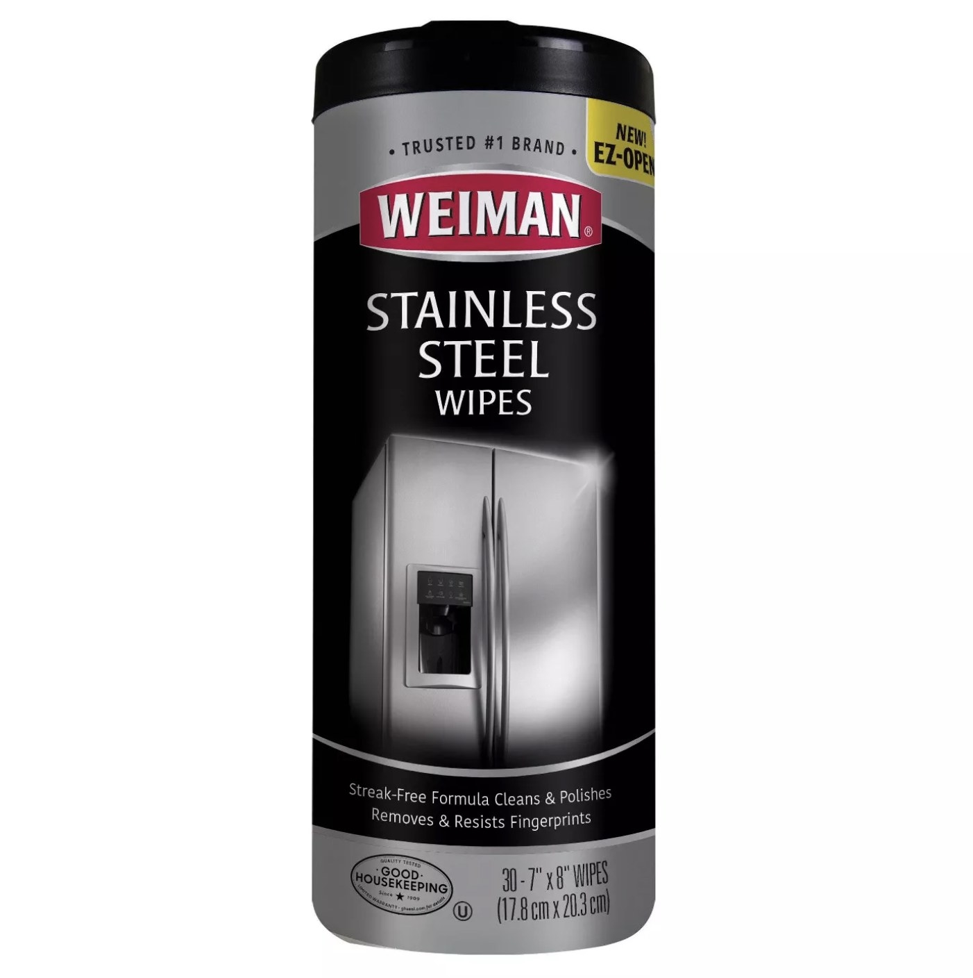 """Silver container that says """"Weiman Stainless Steel Wipes"""""""