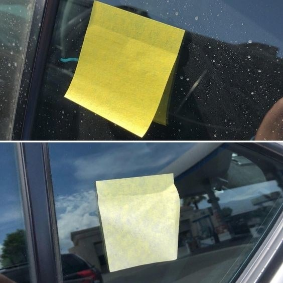 Reviewer's before-and-after picture of the Post-It on their car window and then the Post-It still on the window a week later