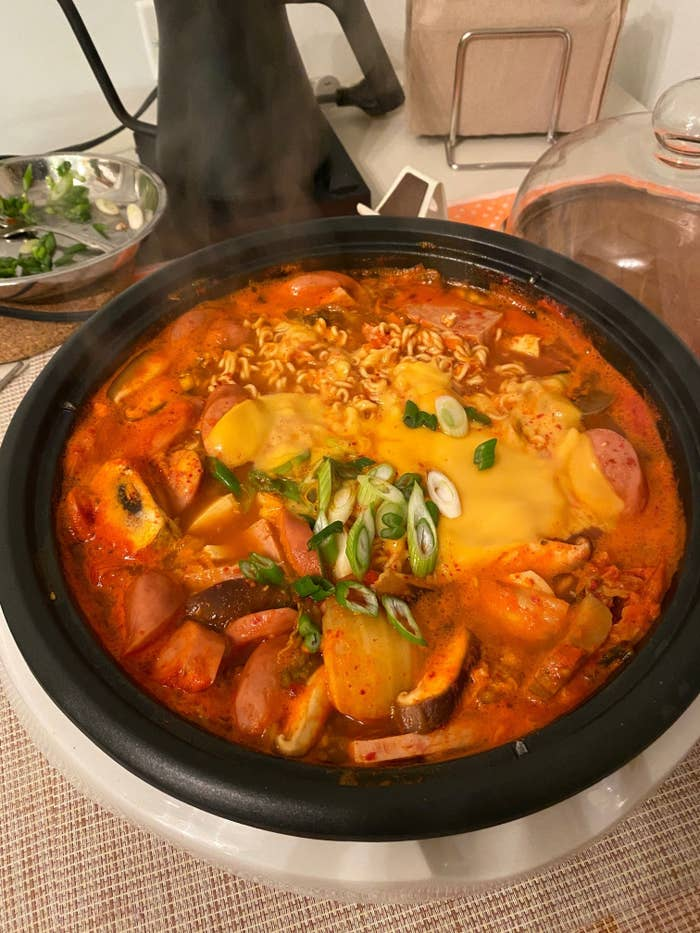 My photo of Korean army stew prepared in the pot