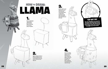 the inside look at one of the pages describing how to draw the fortnite llama