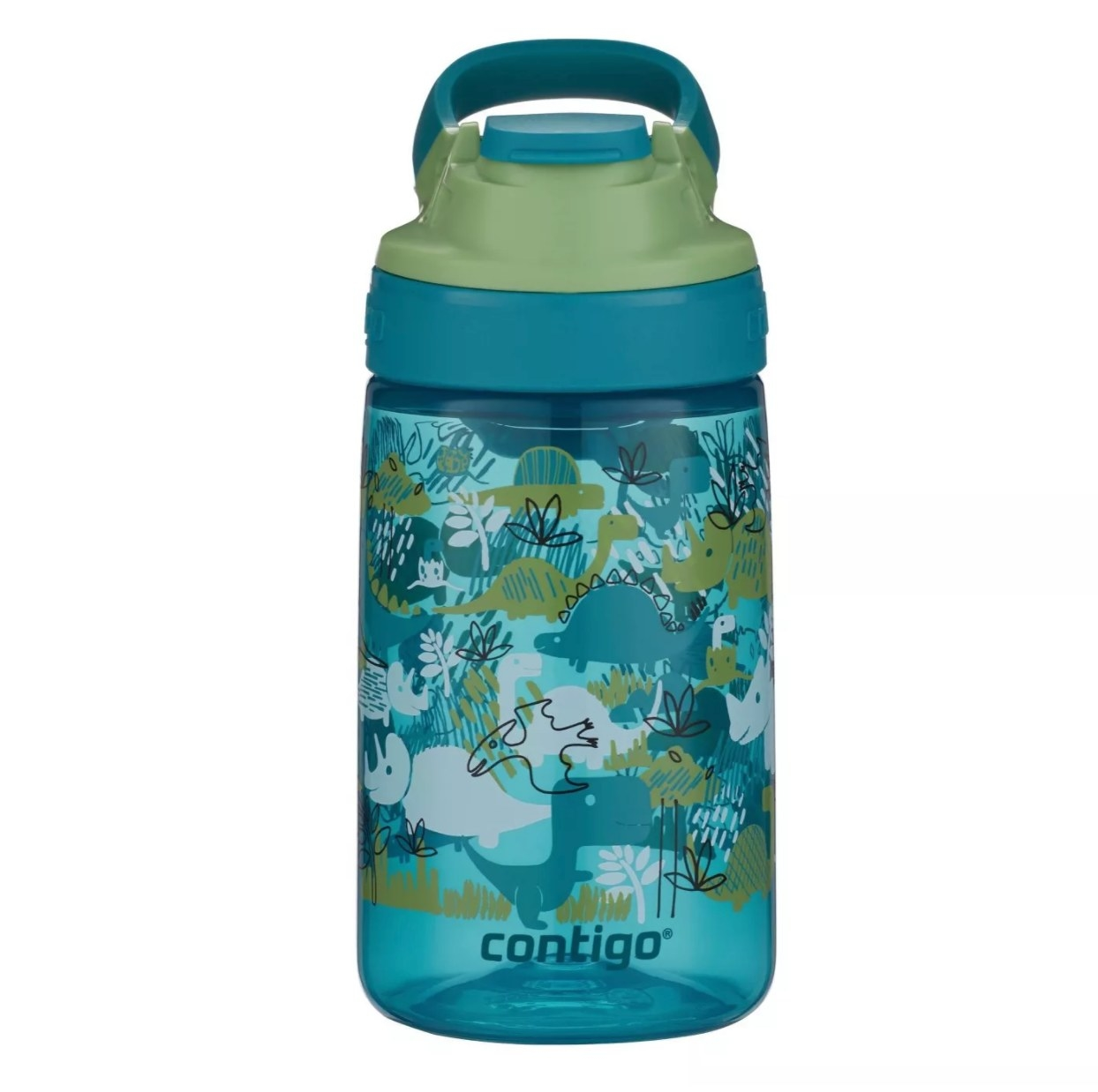 The kids water bottle in blue and green with dinosaurs on it