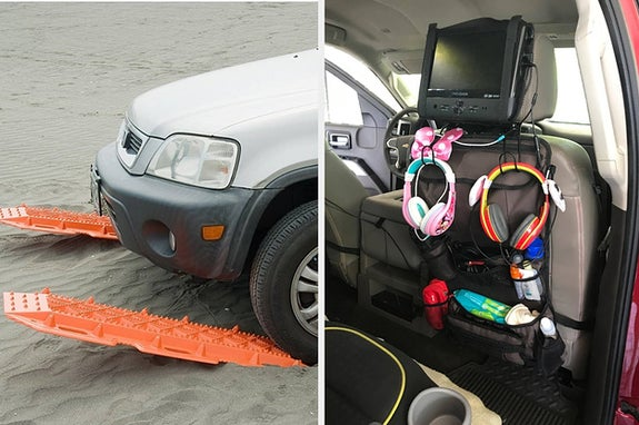 Side by side of car stuck in sand driving onto tracks and a backseat organizer