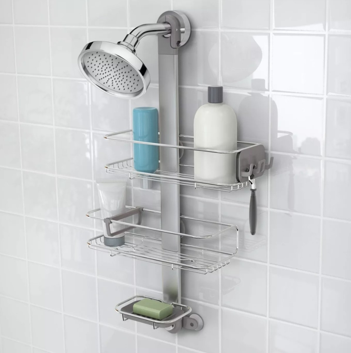 The steel shower caddy with two shelves and a soap dish