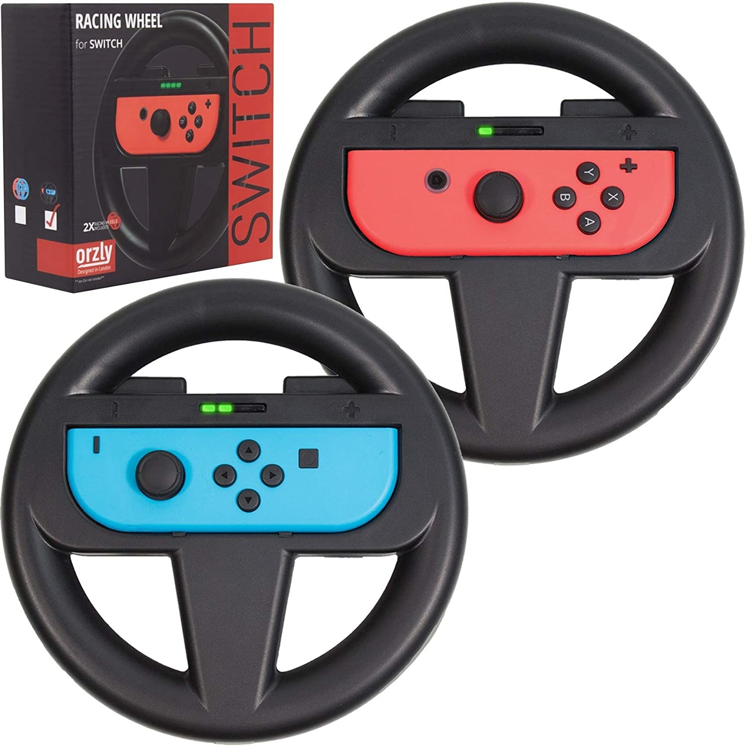 two black steering wheels with a joycon fitted inside each