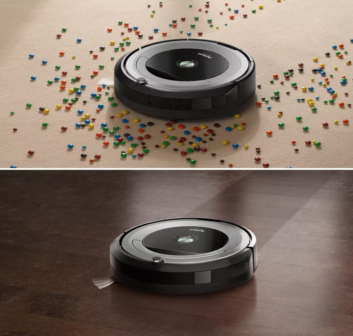 The roomba vacuum being used on both carpet and hardwood floor