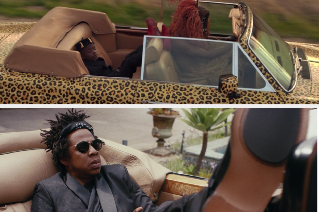 Simba lying in a car and Jay-Z lying in a car