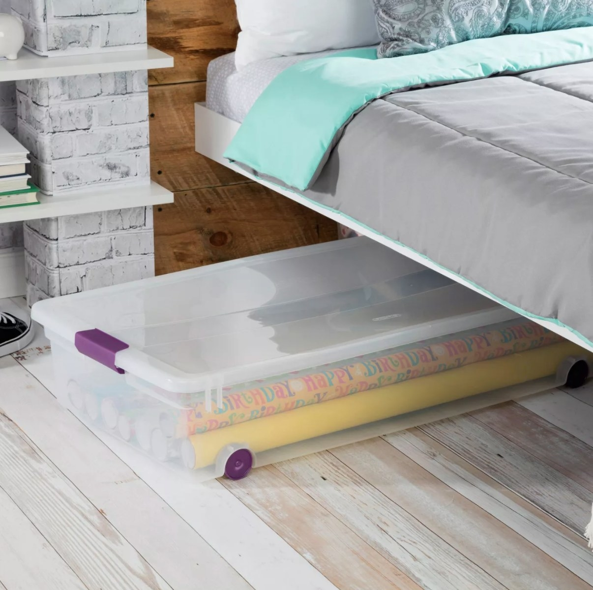 The rolling box under a bed