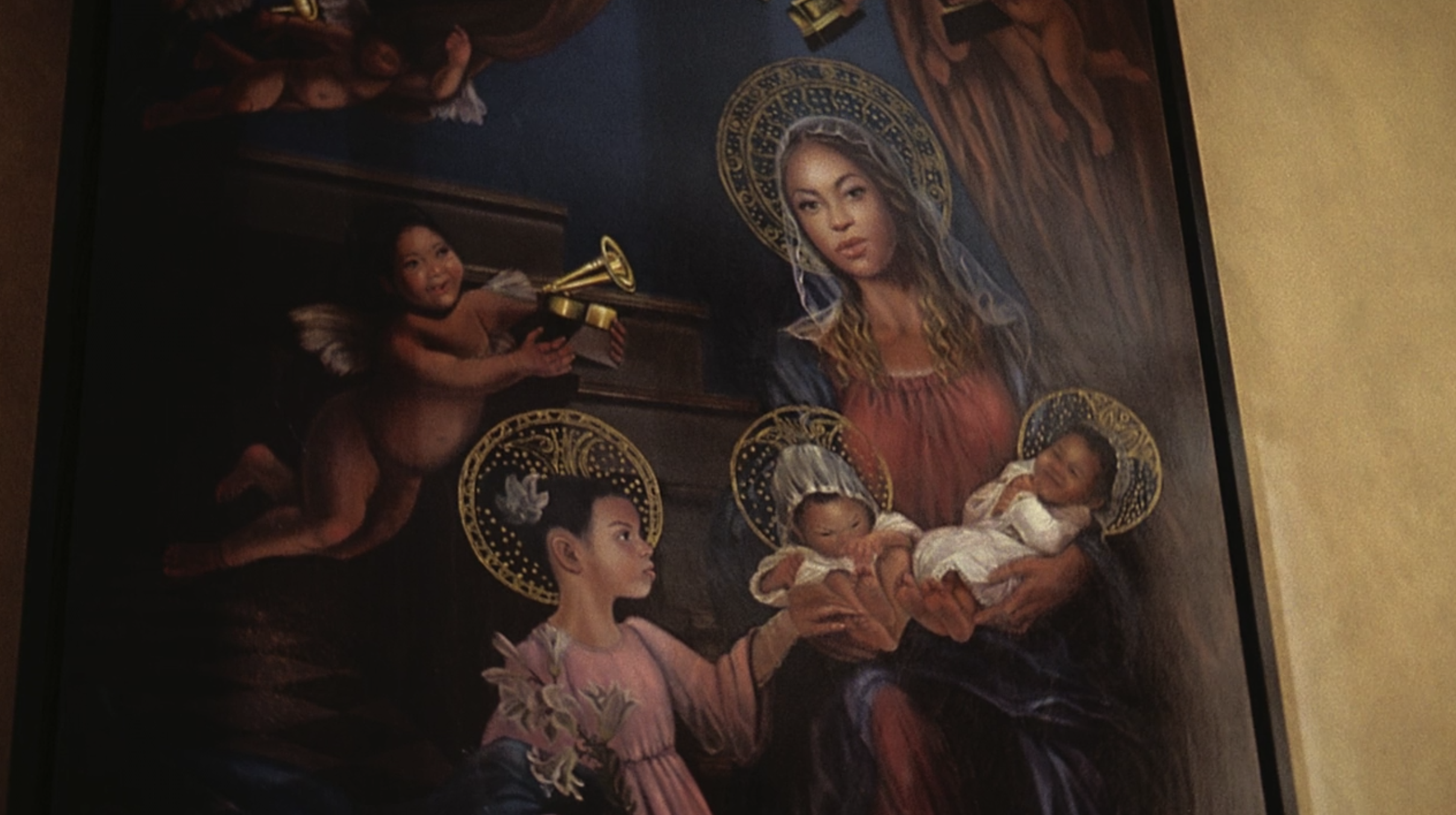 Beyoncé in a painting with her daughter and twins