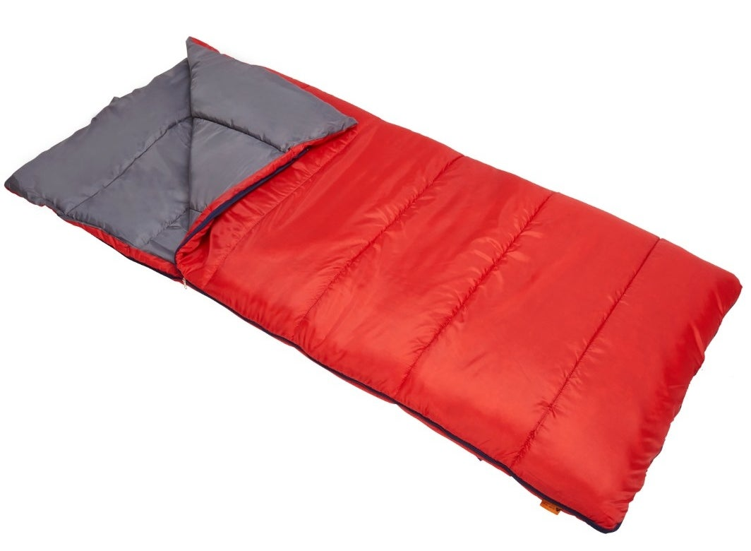 The sleeping bag in red