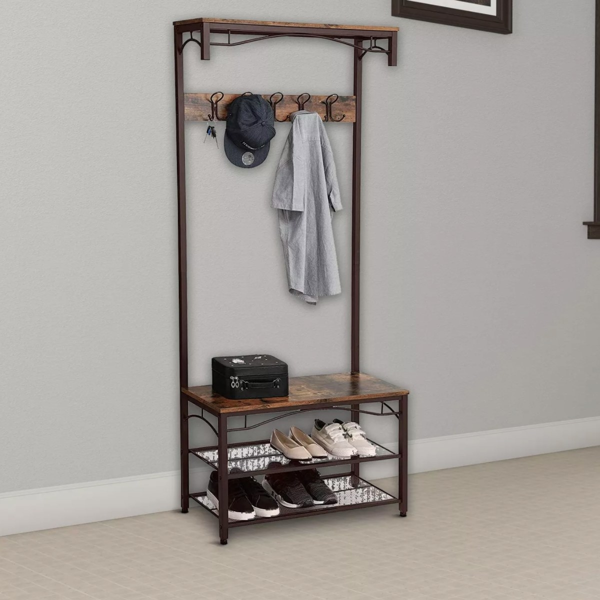 The wood and bronze rack and bench combo