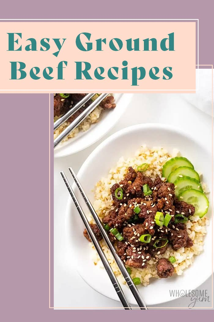 recipes 'Easy Ground Beef Recipes' Pinterest header, featuring a Korean beef bowl