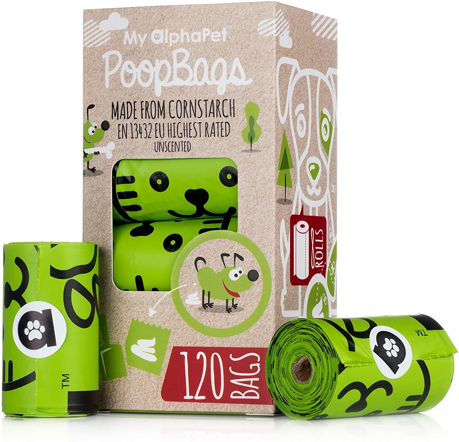 A box of the green compost bags with cartoons on them