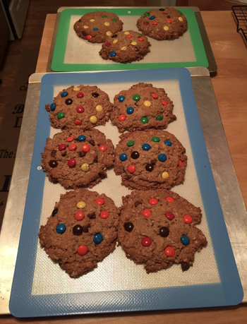 reviewer image of two of the mats with cookies on them