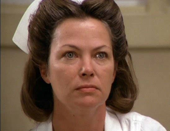 "Louise Fletcher as Nurse Mildred Ratched in ""One Flew Over The Cuckoo's Nest."""