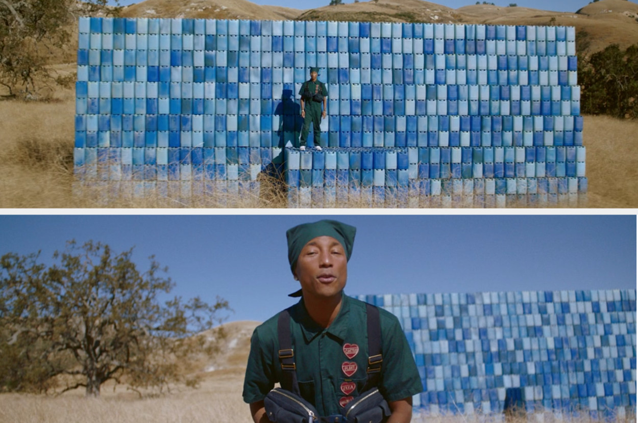 Pharrell singing on a stage of water bottles