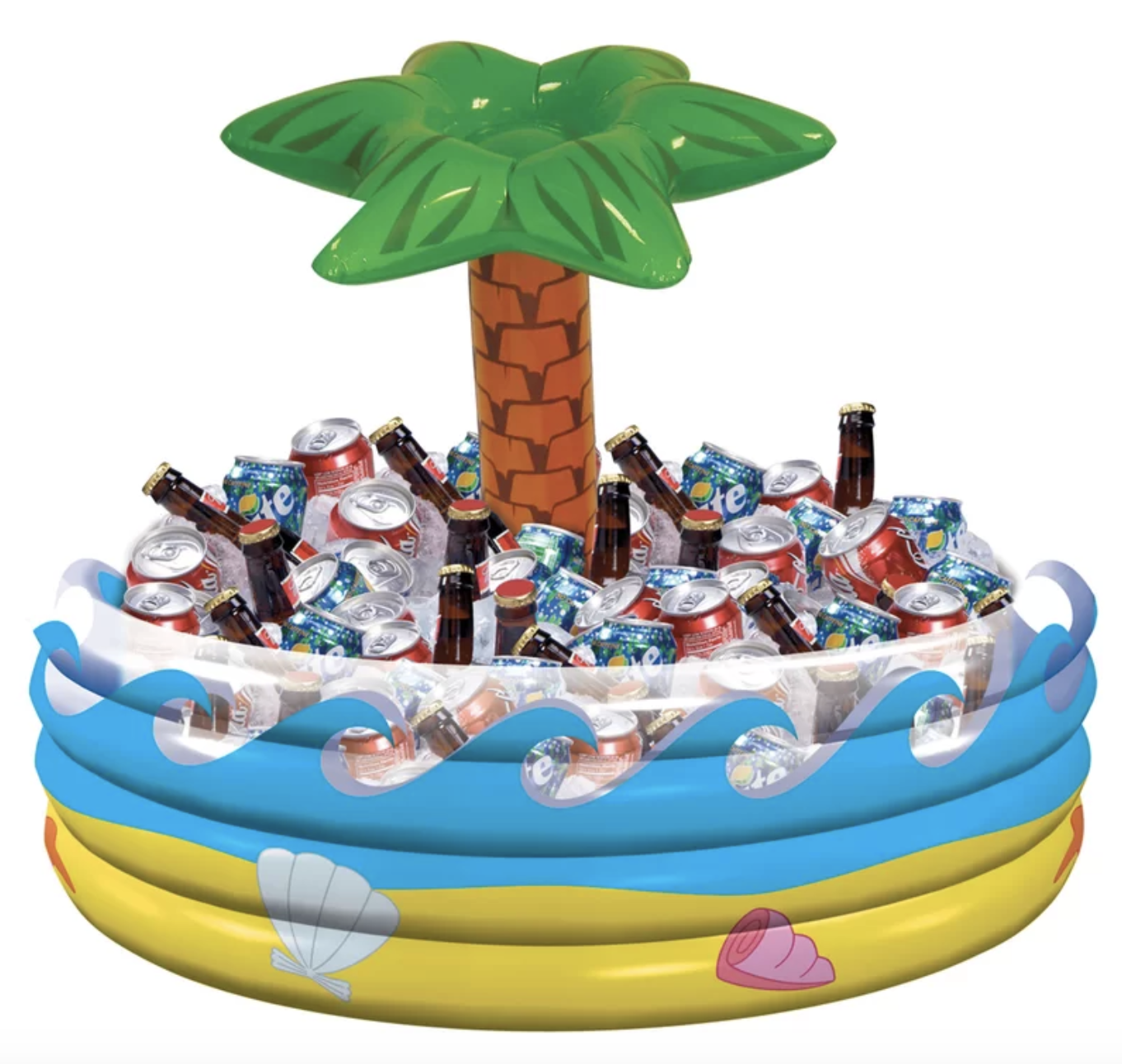 The inflatable beverage tub is a small blow-up pool with a palm tree in the middle