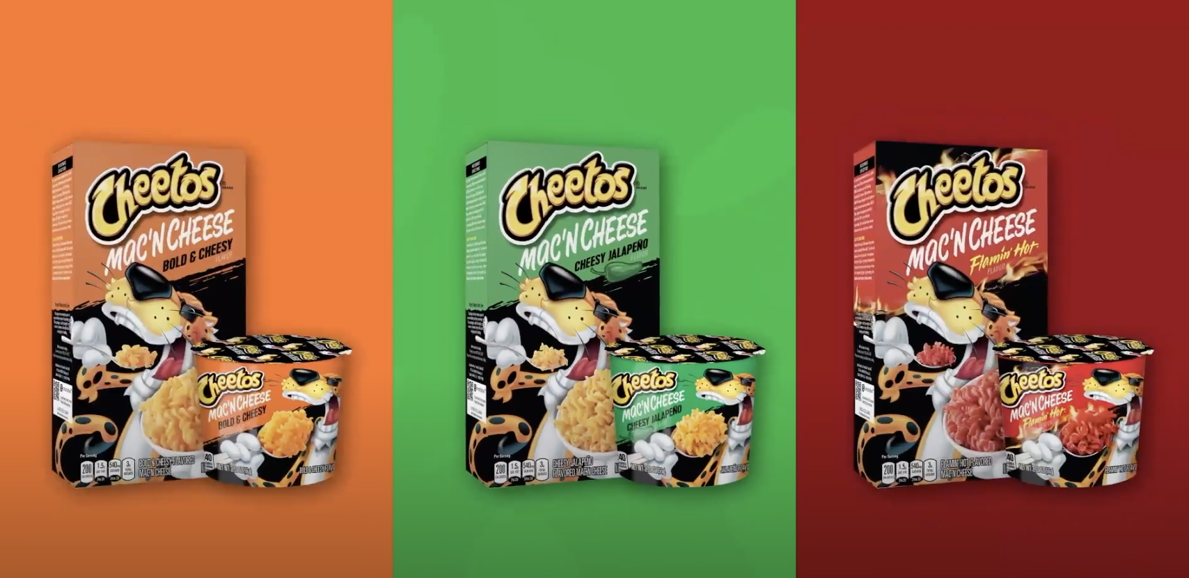 Cheetos promotional ad with all the mac n cheese flavors