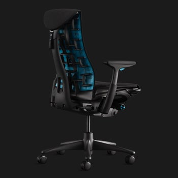 the back of the chair which has a specific curve and blue detailing
