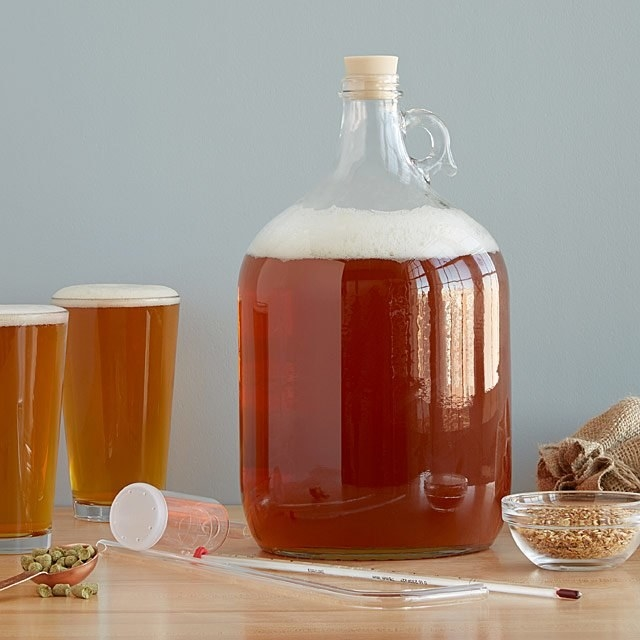 A gallon glass full of beer sits on a table with the rest of the IPA beer brewing kit around it