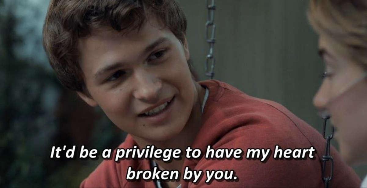"Ansel Elgort as ""Gus"" delivers the quote to Shailene Woodley as Hazel"