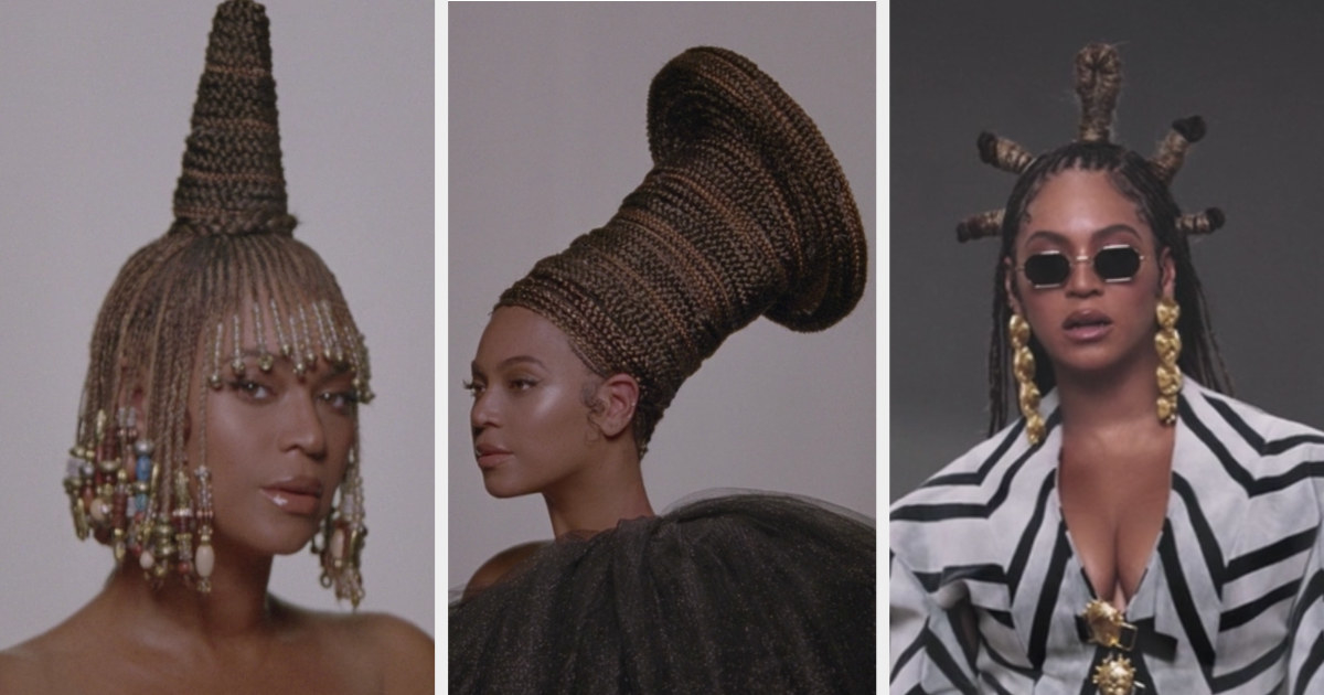 Beyoncé with her hair in braids wrapped around her head in various styles
