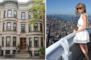 A NYC brownstone and Taylor Swift overlooking NYC.