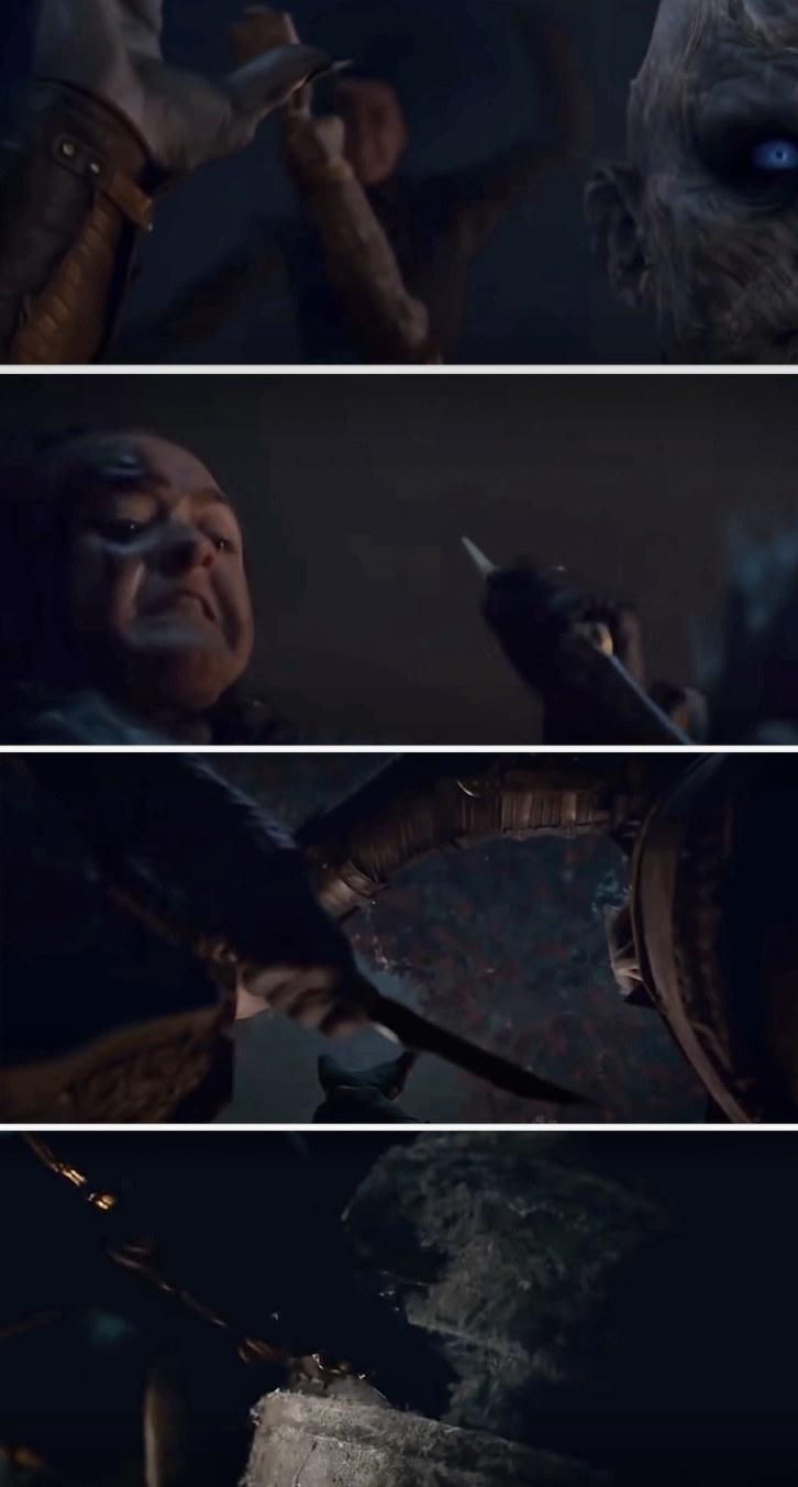 Arya stabbing the Night King