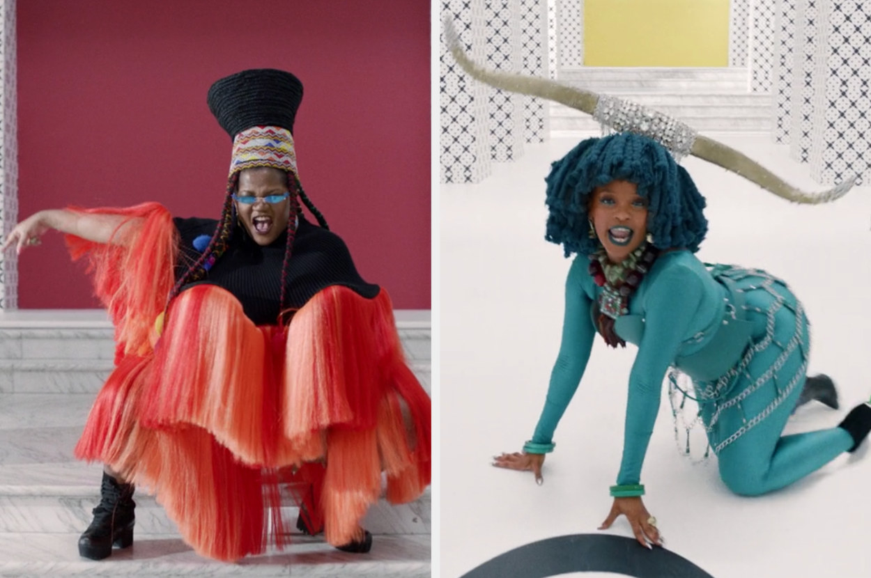 Busiswa and Moonchild Sanelly singing in bright colorful outfits