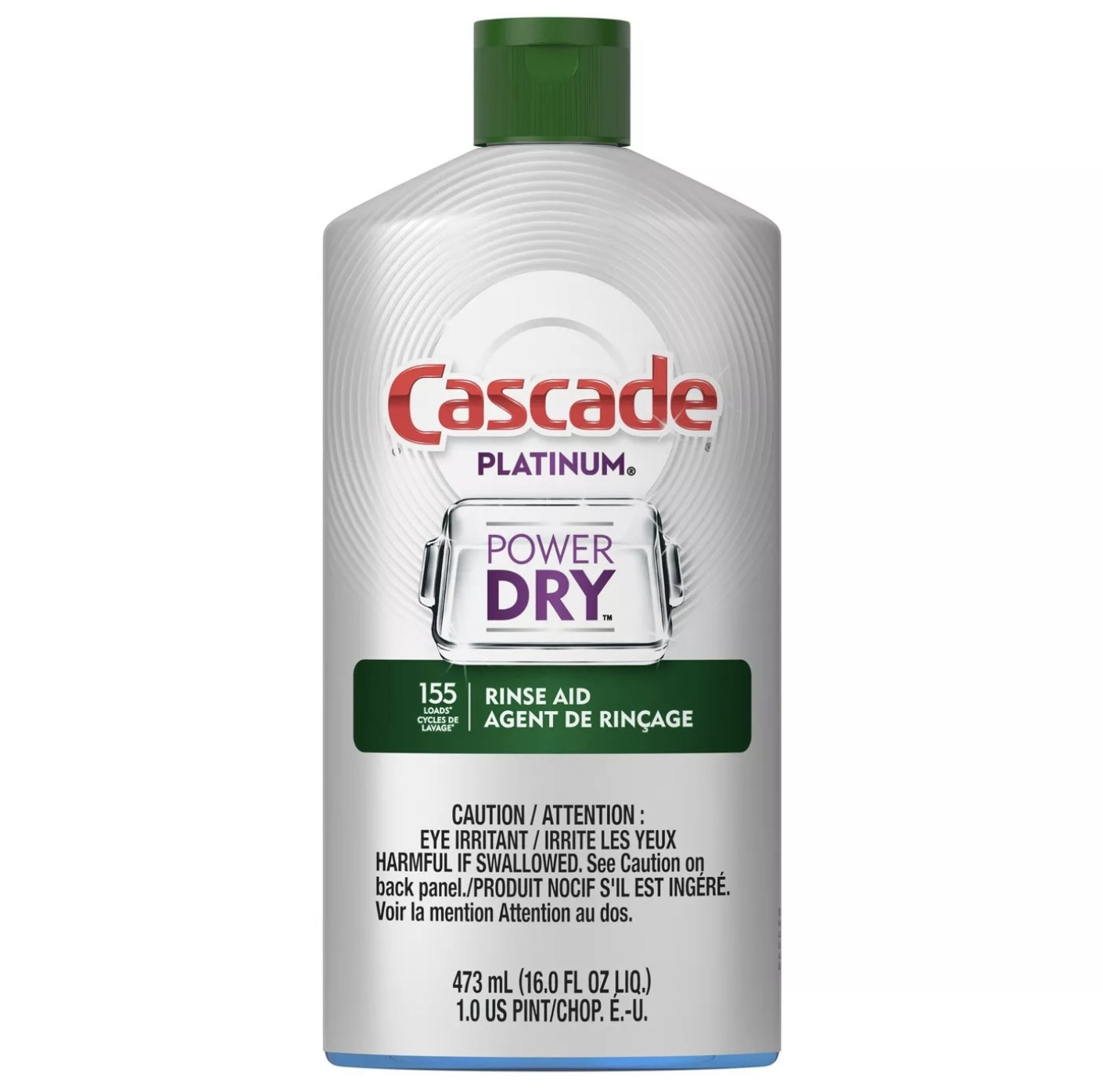 """Silver bottle that says """"Cascade Platinum Power Dry Rinse Aid"""""""