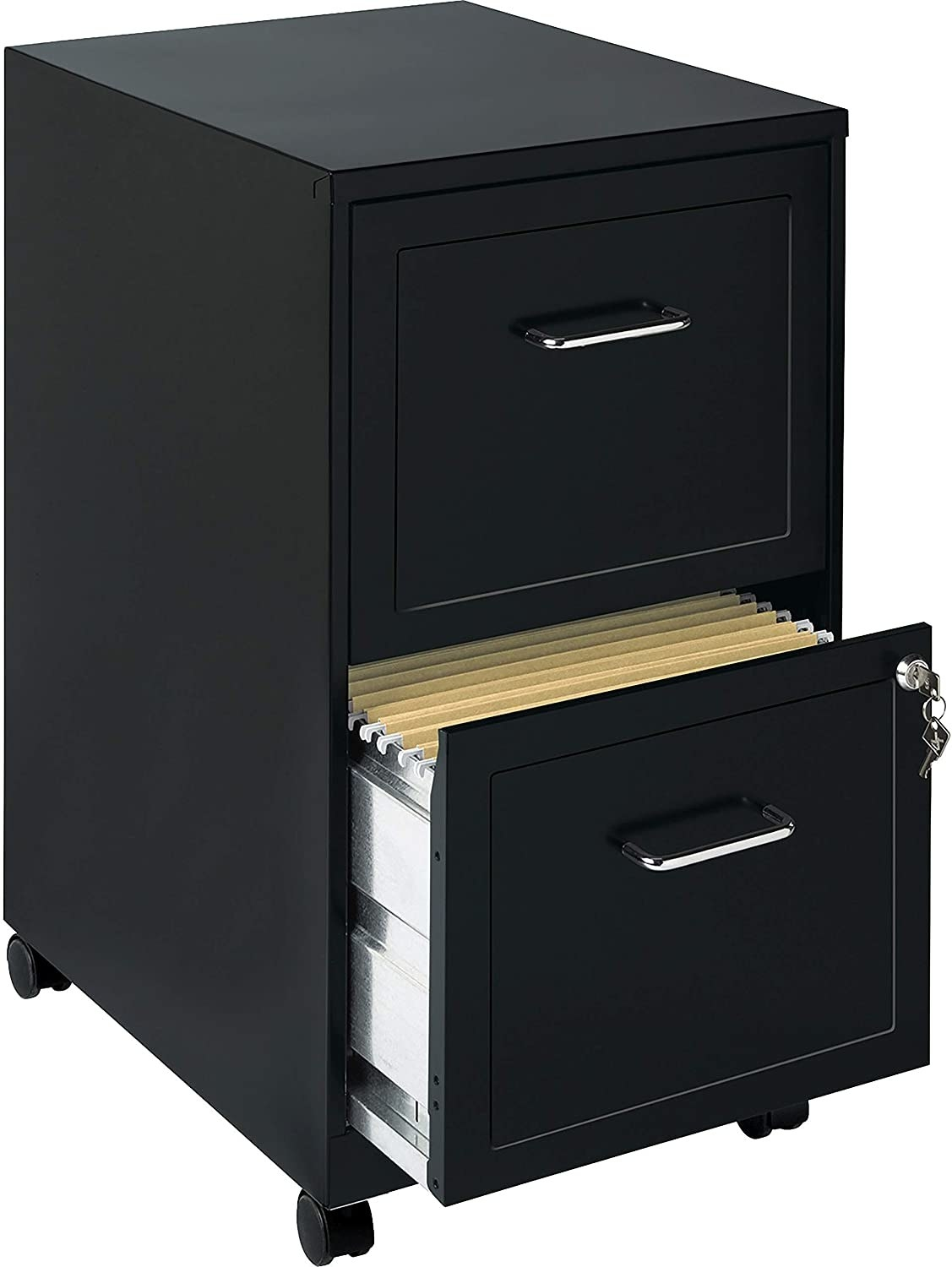 A small metal filing cabinet with two drawers The lower drawer is slightly open and has a small lock in the top right corner