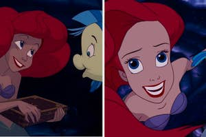 Side-by-side image of Ariel showing a collection of thingamabobs to Flounder and her swimming towards the camera in her cove