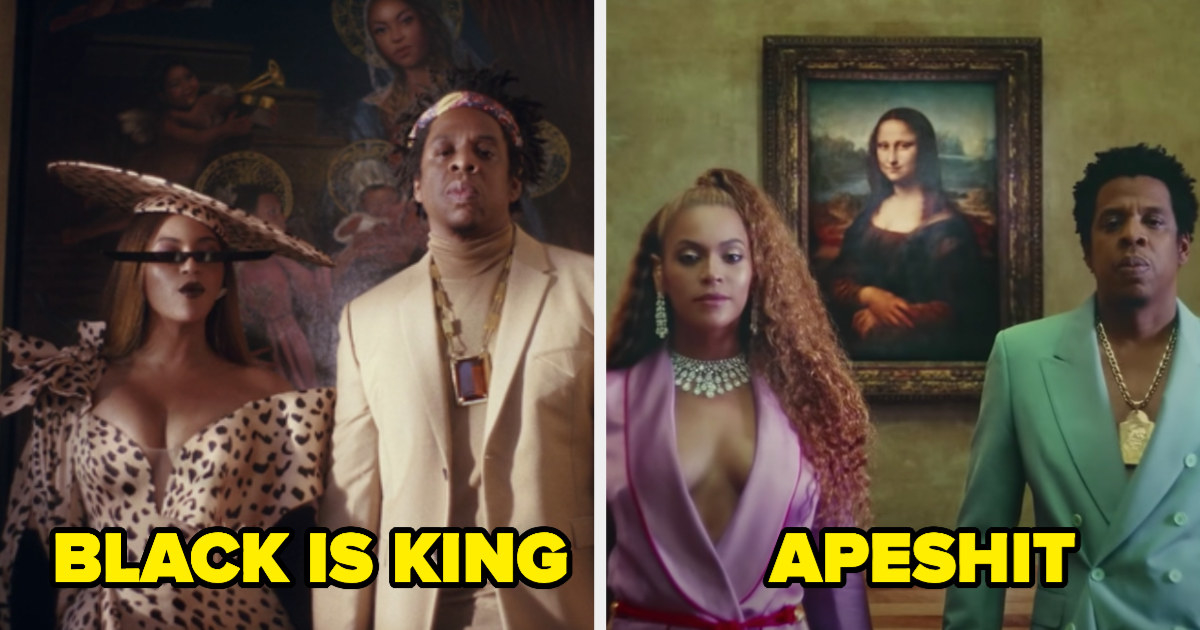 Beyoncé and Jay-Z standing in front a painting of her, and Beyoncé and Jay-Z standing in front of the Mona Lisa
