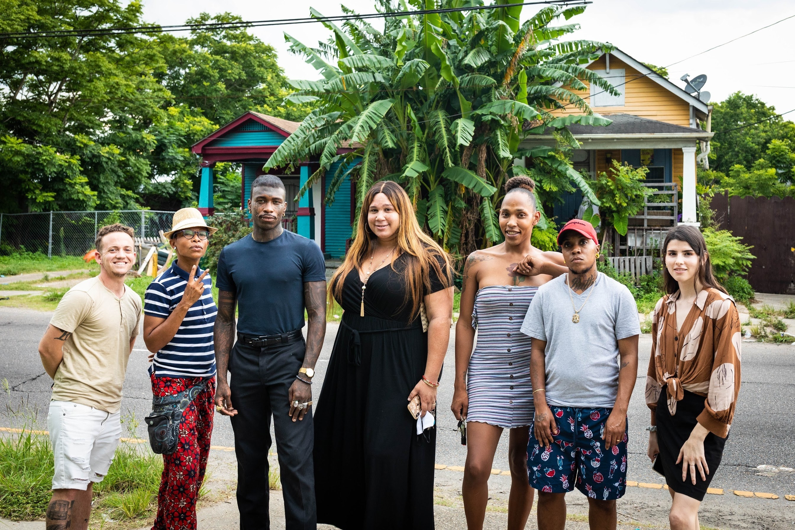 A group of activists leading efforts to create alternative housing for trans folks pose for a photo in New Orleans.