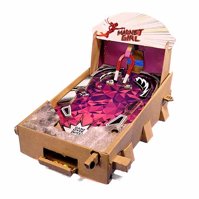 An assembled build your own pinball game named Magnet Girl