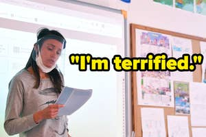 A teacher at the front of their classroom wearing a mask and face shield, next to the quote: