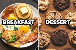 Breakfast platter and chocolate chip cookies.