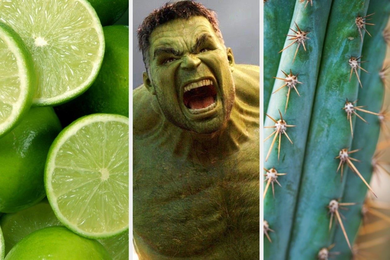 Three pictures side by side of limes, the Hulk, and a cactus