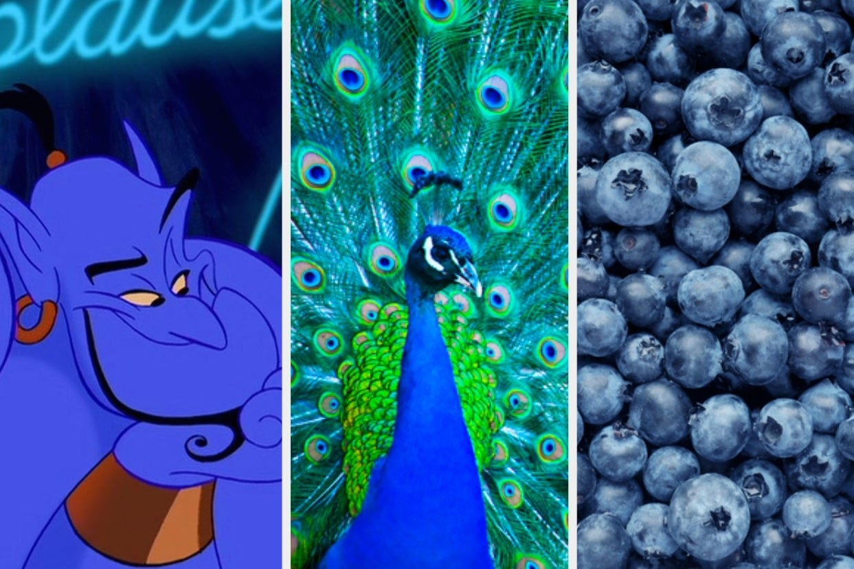 Three pictures side by side of Genie from Aladdin, a peacock, and blueberries