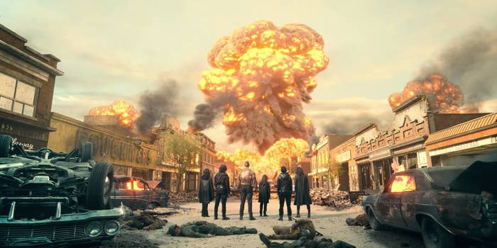 Klaus, Diego, Ben, Luther and Alison looking at a nuclear missile in the distance exploding