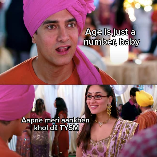 """Aamir Khan licks his lips as Rancho and says """"age is just a number baby"""" Kareena Kapoor Khan as Pia responds sarcastically """"Aapne meri aankhen khol di. TYSM"""""""