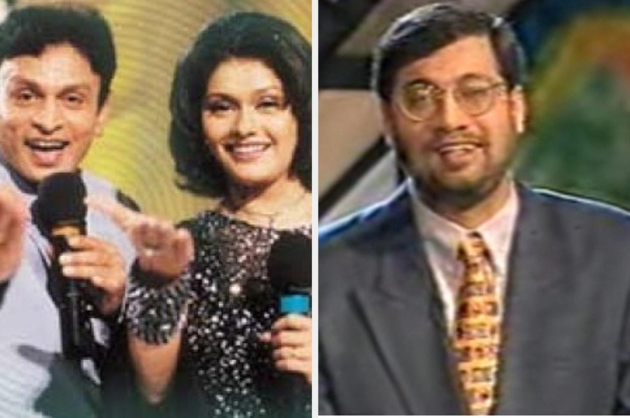 Images of the hosts of Close-Up Antakshari and Bournvita Quiz Contest.