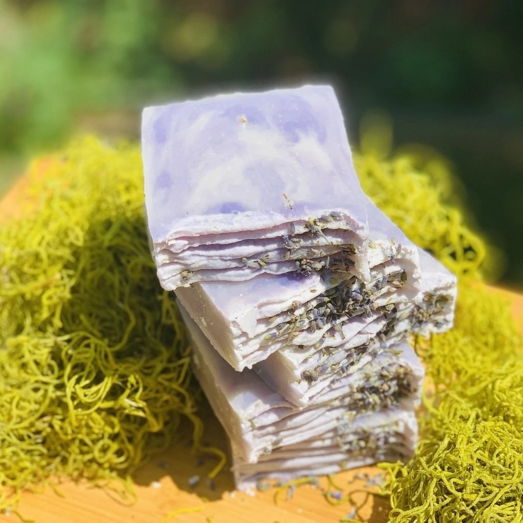 a pile of the lavender bars, showing the petals