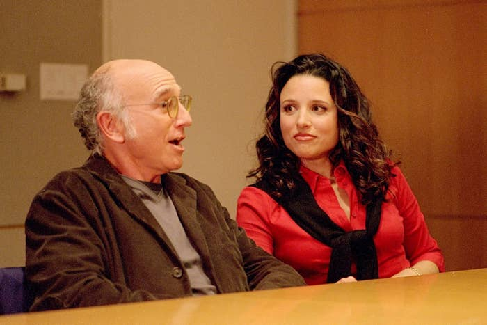 Julia Louis-Dreyfus and Larry David in Curb Your Enthusiasm