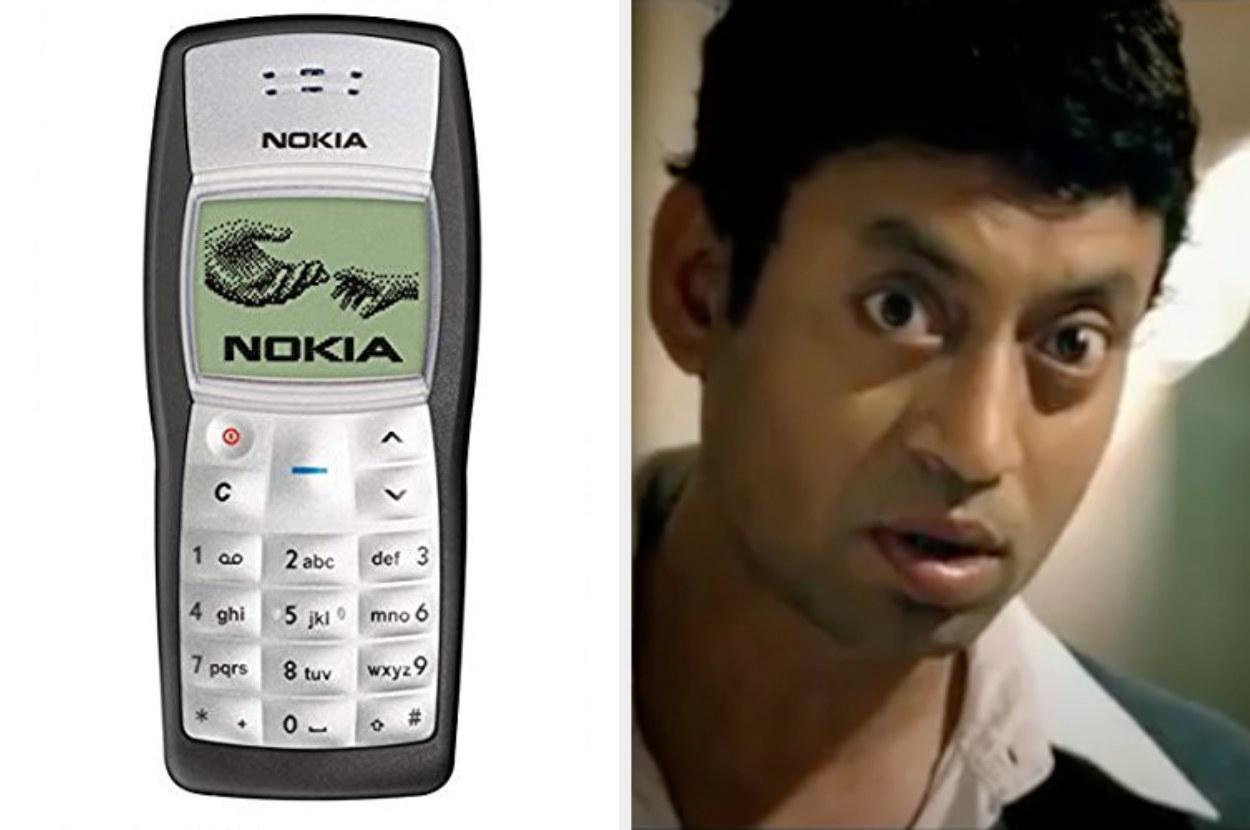 Image of a Nokia Phone and Irrfan Khan, an Indian actor.