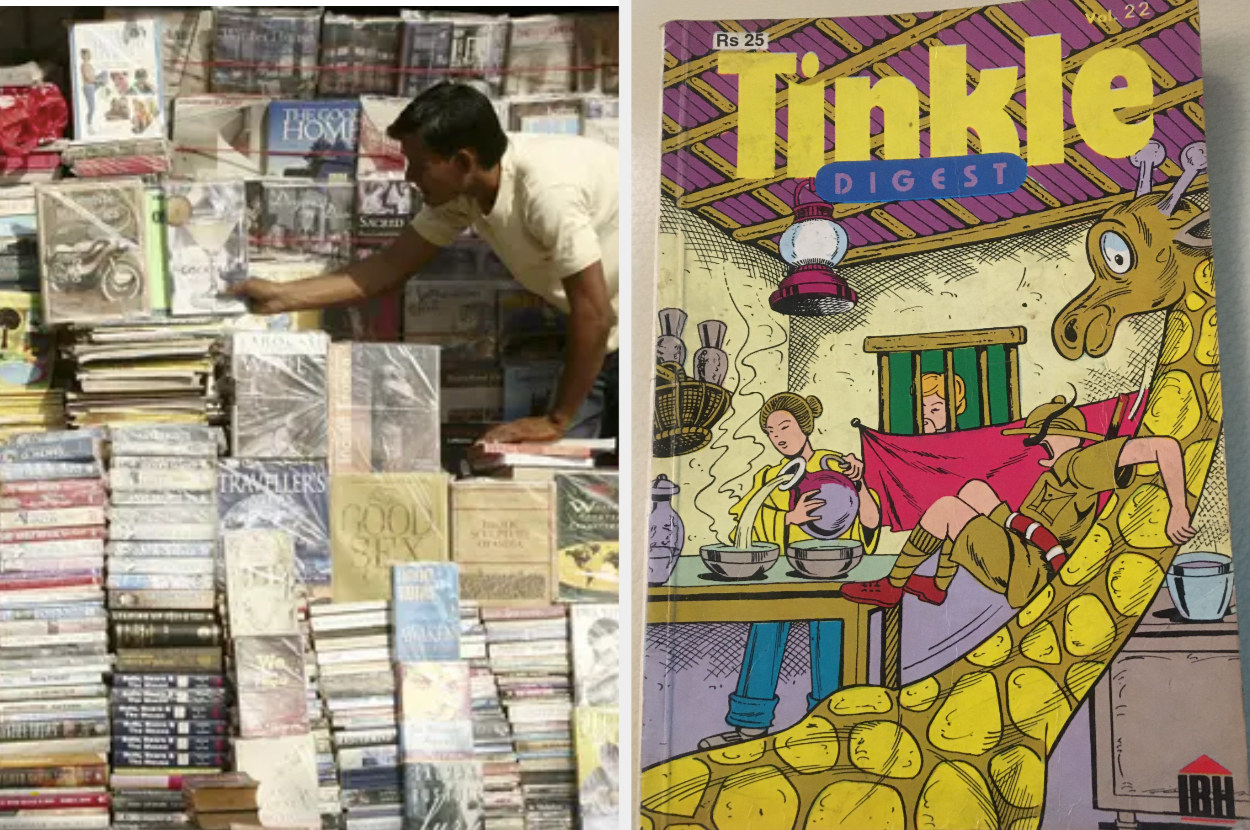 Image of a road-side book stall in India along with a photo of Tinkle Digest, a popular Indian comic book.
